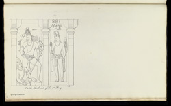 Four standing figures. 'Sculptured Figures on the 2nd Story of the Square Ruddam at Mahabalipooram. Copd. by J. Mustie 6th April 1819.' f.38